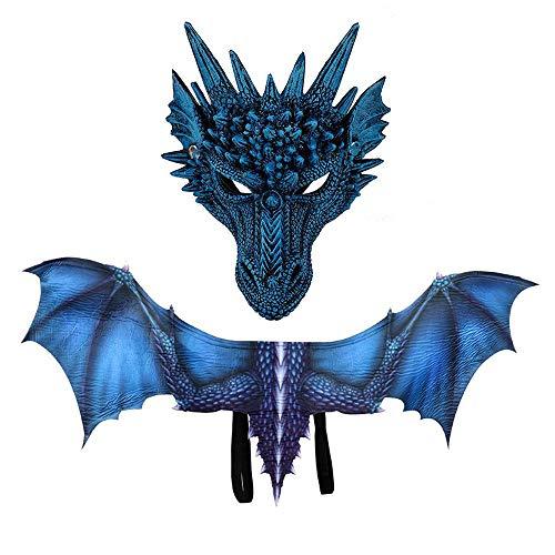 Hamkaw Halloween Evil Dragon Kostüm, 3D Print Realistische Dinosaurier Kostüm Maske Flügel Zubehör für Kinder und Erwachsene