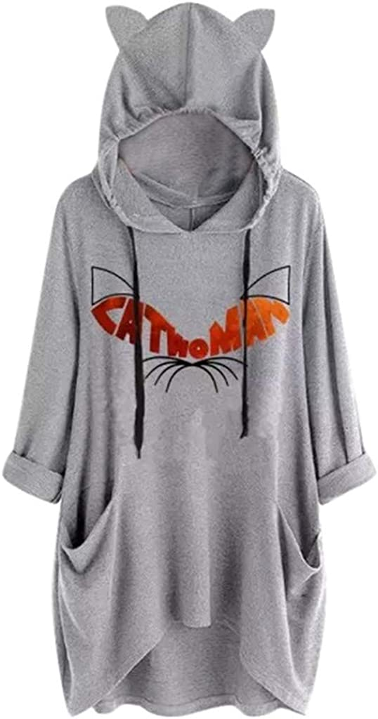 Girls' Hoodie, Misaky Fashion Cat Ear Hooded Cartoon Print Long Sleeve Pocket Sweatshirt Plus Size Tops