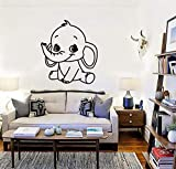 Tianpengyuanshuai Etiqueta engomada Linda de la Pared del Modelo del Elefante del bebé Etiqueta de la Pared del Vinilo del vivero Animal 50X56cm