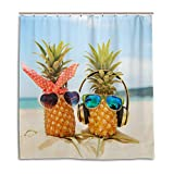 CPYang Duschvorhänge, süße Strand, Ananas, Paar, wasserdicht, schimmelresistent, 168 x 182 cm, mit 12 Haken