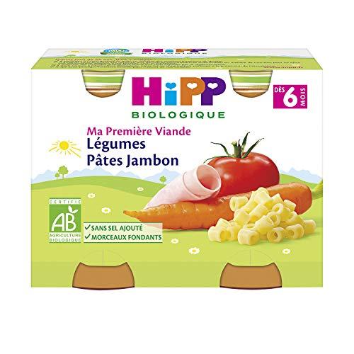 Hipp Biologique Légumes Pâtes Jambon Dès 6 Mois 2 Pots de 190 g