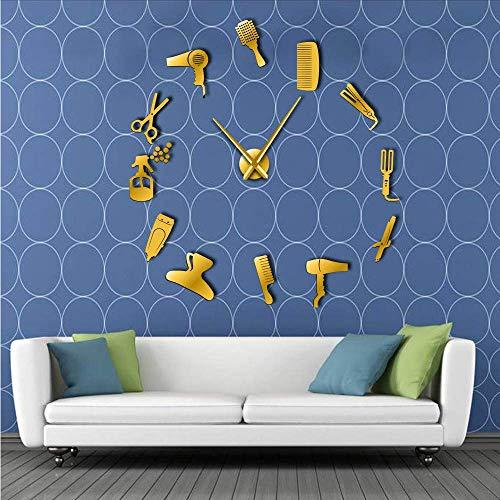 Djkaa Barber Shop Outils De Cheveux Surdimensionné DIY Horloge Murale sans Cheveux Salon Salon Big Time Horloge De Mode Salon De Coiffure Défini par La Chambre Décor(47 inch)