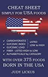 Cheat Sheet Simply for USA Foods: CARBOHYDRATE, GLYCEMIC INDEX, GLYCEMIC LOAD FOODS Listed from LOW to HIGH + High FIBER FOODS Listed from HIGH TO ... CATEGORY with OVER 375 foods BORN IN THE USA