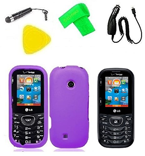 Phone Cover Case Cell Phone Accessory + Car Charger + LCD Screen Protector Guard + Extreme Band + Stylus Pen + Yellow Pry Tool For Verizon LG Cosmos 3 VN251S / LG Cosmos UN251 VN251 (Purple)