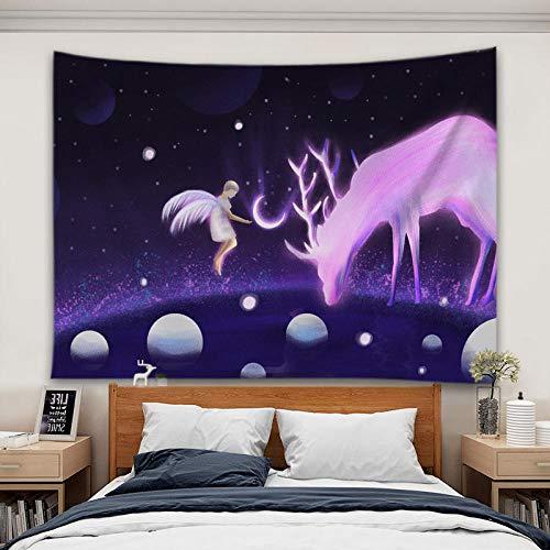 decoración de dormitorio alfombrilla para yoga toalla para playaTela de fondo verde hierba luna cielo estrellado tela colgante, tapiz de girasol, tela de pared decorativa en vivo-4_200 * 150 CM