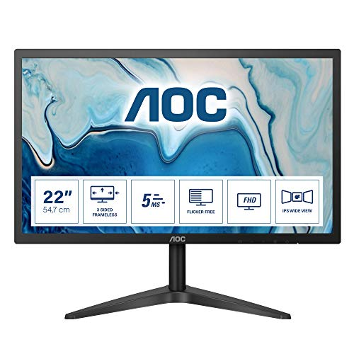 "AOC 22B1HS - Monitor sin bordes de 21.5"" FHD (1920x1080, 60 Hz, 5 ms, 250 cd/m², IPS Sin Bordes, Flicker Free y Low Blue Light, VGA, HDMI) Color negro"