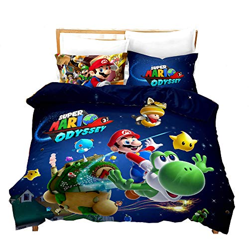 Fuovt Super Mario Kids Bedding Soft Comforter, Mario Bedding Sheets Duvet Cover and Pillow Shams Twin Set (F, 3 Pieces Queen Size)