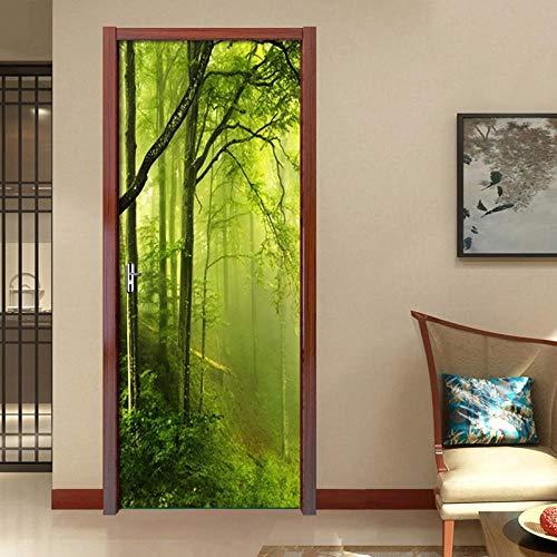 BXZGDJY 3D deur-wandsticker, mistig, groene bos, 3D-landschap, woonkamer, deurbehang, muurschilderingen, zelfklevend, deur, poster, vinyl, verwijderbare muursticker, woondecoratie, deurbehang, zelfklevend deurposter 95X215CM
