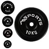 Juego de 2 discos para mancuernas, agujero diámetro 51 mm Calidad de gimnasio, hierro fundido, revestimiento de goma, 5-20 kg, Pesas