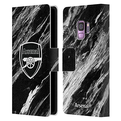 Head Case Designs sous Licence Officielle Arsenal FC Marbre Crête Modèles Coque en Cuir à Portefeuille Compatible avec Samsung Galaxy S9