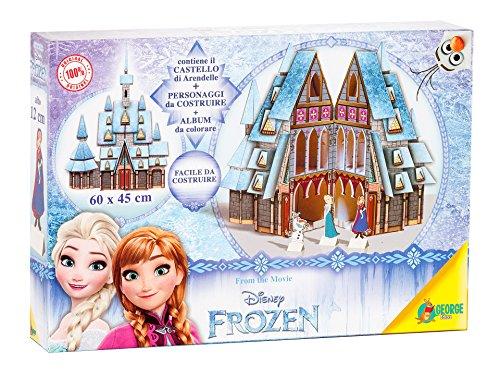 Disney–Premium Box Frozen 1Schloss und 1Schlitten Aufbauleuchte/2Schablonen/2Poster von denen 1zum Ausmalen/1Set Mini Farben, Sortiert, 7864