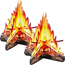 12 Inch Tall Artificial Fire Fake Flame Paper 3D Decorative Cardboard Campfire Centerpiece Flame Torch for Campfire Party Decorations, 2 Sets
