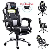 EUCO Gaming Chair with Footrest,White Racing Style Reclining Computer Office Chair High Back