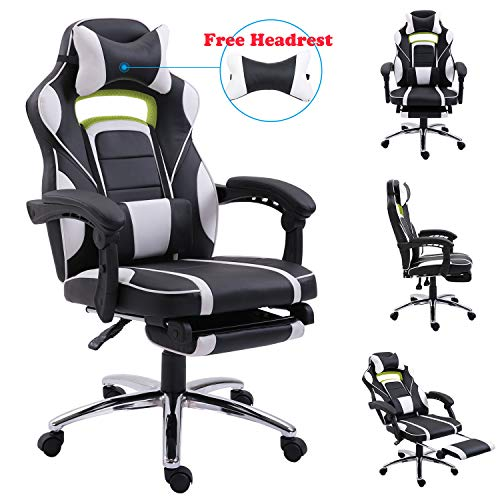 LuckRacerBlack Leather Racing Swivel Gaming Office Chair with Massage Armrest