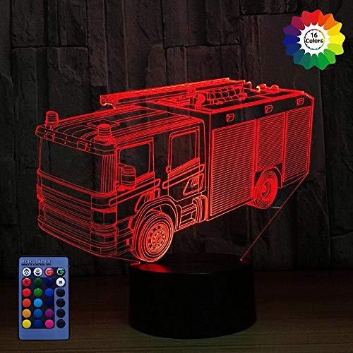 3D Feuerwehr Auto Lampe USB Power Fernbedienung 7/16 Farben Amazing Optical Illusion 3D wachsen LED Lampe Formen Kinder Schlafzimmer Nacht Licht