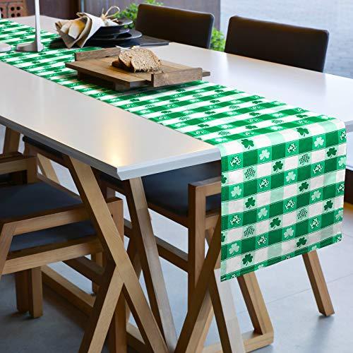 Seasonal St Artoid Mode Lucky Clover Shamrocks Table Runner Patricks Day Holiday Kitchen Dining Table Runner for Home Party Decor 13 x 108 Inch