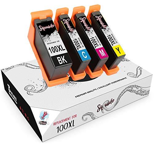 Squuido 4 Cartuchos de Tinta 100 XL 100XL compatibles para Lexmark Lexmark S405 Pro205 S605 Pro705 S305 Pro901 Pro905 Pro805 S815 S505 S816 S301 Pro209 | Alto Rendimiento