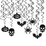 Decoración de Remolino de Halloween AirSMall 16PCS Espiral Decorativos para Colgar Halloween 3D Colgante Techo Halloween con Murciélagos/Calabazas/Fantasmas/Arañas para Decoración de Casa Encantada
