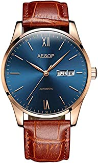 Aesop Men's Simple Ultra-Thin Automatic Mechanical Wrist Watch with Leather Strap Male Clock Wrist Waterproof