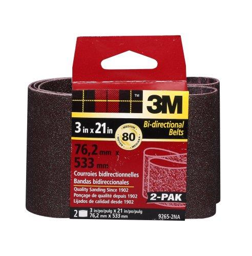 3M 9265NA Heavy Duty Power Sanding Belts - Medium 80g, 3-Inch by 21-Inch 2-pack