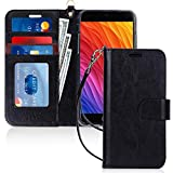 FYY Case for iPhone 8 Plus/7 Plus, [Kickstand Feature] Luxury PU Leather Wallet Phone Case Flip Folio Protective Cover with [Card Holder][Wrist Strap] for iPhone 7 Plus/8 Plus (5.5') Black