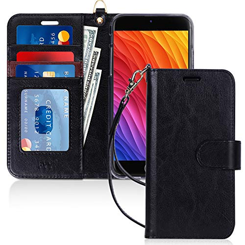 "FYY Case for iPhone 8 Plus/7 Plus, [Kickstand Feature] Luxury PU Leather Wallet Phone Case Flip Folio Protective Cover with [Card Holder][Wrist Strap] for iPhone 7 Plus/8 Plus (5.5"") Black"