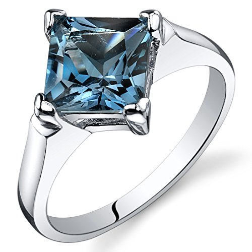 Peora London Blue Topaz Engagement Ring Sterling Silver 2.00 Carats Size 8