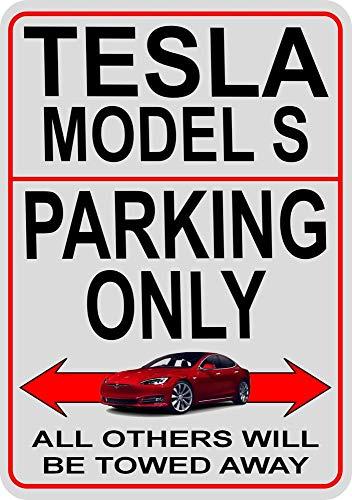 Model S Parkplatz Metallschild