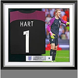 Joe Hart Official England Back Autographed Signed Signed and Framed 2016-17 Home Shirt - Certified Authentic