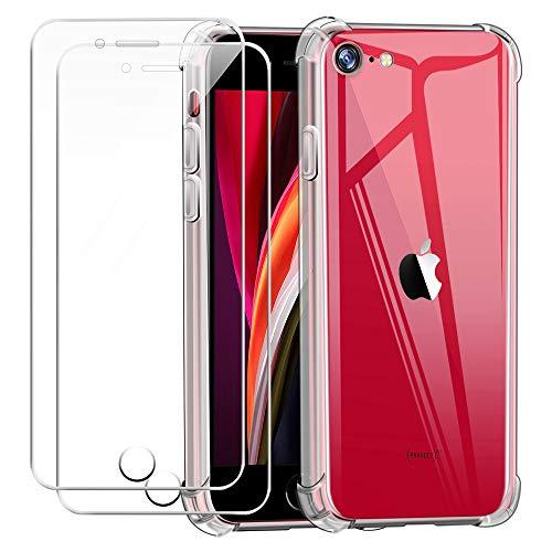 Funda para iPhone SE 2020 con Dos Cristal Templado Protector de Pantalla,Suave TPU Transparente Gel Silicona Anti Caída Protectora Carcasa para iPhone SE 2020 / iPhone 7 / iPhone 8 (4.7 Pulgadas)