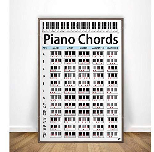 Schilderij Piano Akkoord Sleutel Muziek Grafische Oefening Grafiek Studie Poster Print Muur Canvas Foto Woonkamer Thuis Decor 50x75cm frameloos