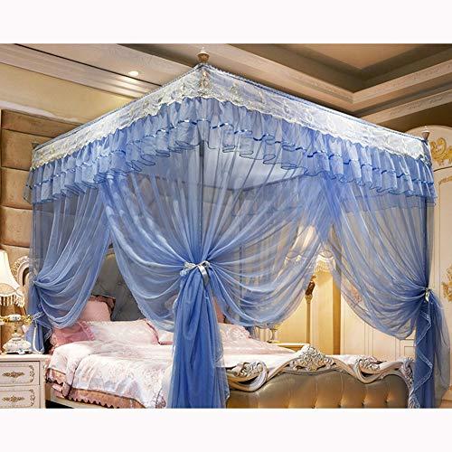 KE & LE Moustiquaire Protection Anti-Insecte Rideau Grand Mosquito Netting Rideaux, Style Princesse Chambre Décoration pour Adultes Filles Garçons Pliage Design avec Fond-h W:155cmxh:200cmxd:205cm