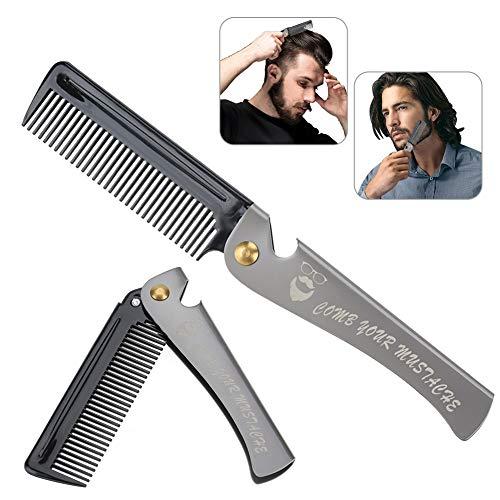 Peine de hombres, Herramienta de peluquería plegable para Barba y Pelo con...