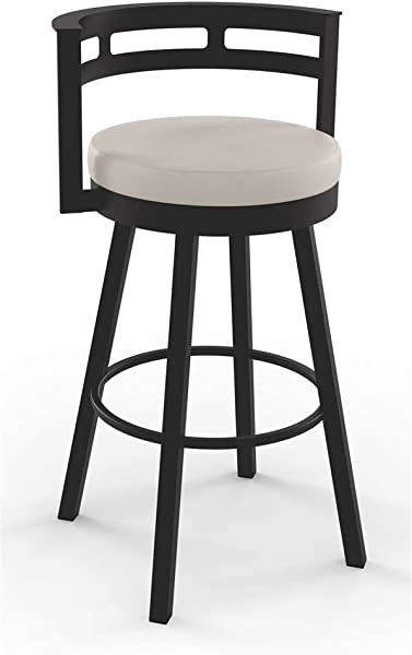 Amisco Render Swivel Barstool In Textured Dark Brown Metal Finish