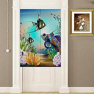"Eazyhurry Cotton Linen Cartoon Cute Sea Fish Printed Doorway Curtain Home Decoration Door Curtain Bedroom Curtain Kitchen Curtain 2 Panels Set Blue, 33.46"" X 35.43"":Warezcrack"
