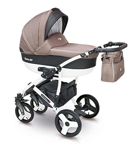 Lux4kids Cochecito 3 in 1 Silla de paseo + capazo + silla para coche + rutas giratorias neumática - giratorias + colchón + accesorios opcionales VIP Hecho en Europa Carera negro-marrón