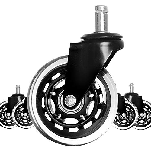 Aganmi Office Chair Caster Wheels (Set of 5), Universal Caster Wheels Replacement Set, for Hardwood Floors and Carpet