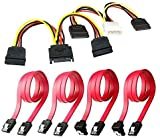 6 Pack SSD/SATA III Hard Drive Connection Cables 1x 4 Pin to Dual 15 Pin SATA Power Splitter Cable, 1x 15 Pin to Dual 15 Pin SATA Power Splitter Cable, 4X SATA Data Cables