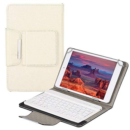 QYiD Funda con Teclado Universal para 9-10.5 Pulgadas Tablet, Carcasa Delgada con Teclado Bluetooth para 9-10.5' (Samsung Tab 9.6/10.1/10.5, iPad 9.7-10.5', Dragon Touch 10', Huawei 9.6-10.1), Blanco