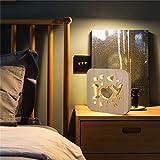 Watopi - Lámpara de noche de madera de pino, diseño vintage, USB, 2,5 W, para habitación de hogar, niños, regalos de cumpleaños, decoración de guardería