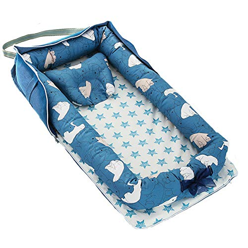 VANGOAL Folding Baby Lounger, Breathable Cotton Sharing Co Sleeping Baby Bassinet Portable Newborn Crib Snuggle Nest Bed for Travel,Suitable for 0-2Years Infant (Blue Polar Bear)