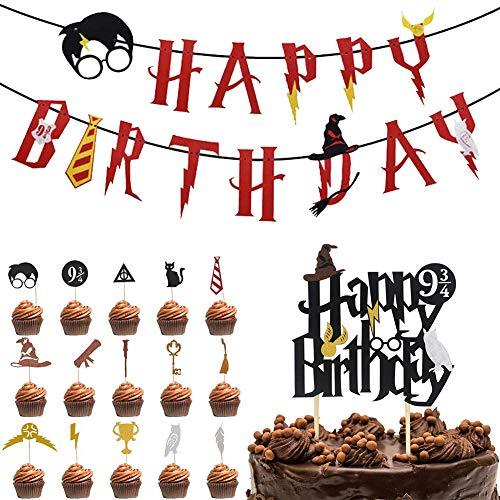 Wizard Inspired Cupcake Toppers BETOY 17PCS Harry Potter Inspired Cupcake Toppers cumpleaños Decoracion de Fiesta Mago Estandarte de cumpleaños