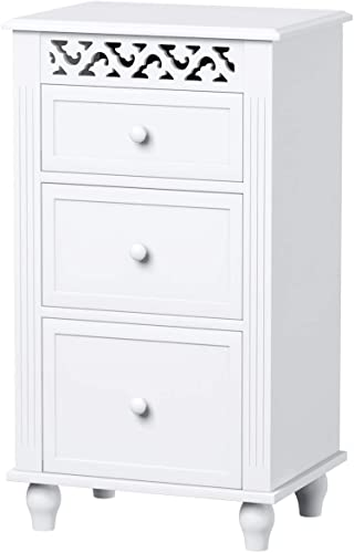popular Giantex Storage Floor Cabinet high quality W/ 3 Drawers Wood online sale Bathroom Cupboard Organizer Kitchen Collection Cabinet Shelf Nightstand Beside End Table White (3 Drawers) sale