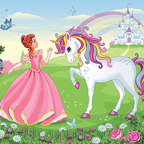 Consalnet Mädchen-Tapete Prinzessin mit Einhorn, Rosengrün, Vlies-Papier, leicht anzubringen, 130 g/m², rose, 312 x 219 cm