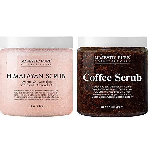 Majestic Pure Himalayan Body Scrub and Coffee Scrub Bundle – Exfoliating Salt Scrub and Cellulite Scrub Combo