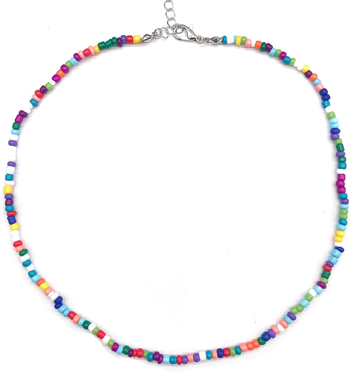 JEWPARK 1-5 PCS Boho Pearl Beaded Necklace Y2k Choker Necklace for Women Girls Colorful Seed Beaded Pearl Choker Smiley Face Irregular Pearl Choker Handmade BeadandPearlNecklaces