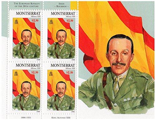 Diritti europea del 20 ° secolo con la Spagna Alfonso XIII di Borbone (1886-1931) menta foglio di francobolli per collezionisti/Montserrat / Scott No. 950/1998 / 4 francobolli