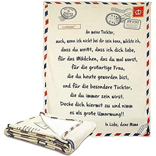 Bcamelys Deutsch Briefumschlag Druck Decke Brief Weiche Decke für Söhne Und Töchter Super Weiche Flanell Decke Nachricht Briefdecke 3D-Druck Kurzbrief Decke Geschenk für Tochter und Sohn