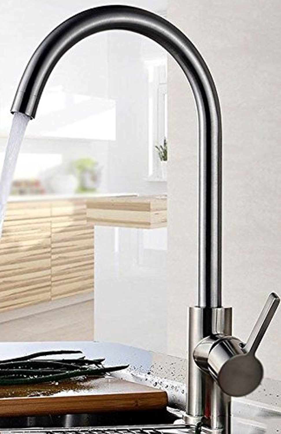 IJIAHOMIE Style of Bathroom Sink Taps, Bathroom Faucets,Waterfall Basin Sink Mixer Tap Modern Kitchen, hot and Cold, Copper, Stainless Steel, Sink, Sink, G