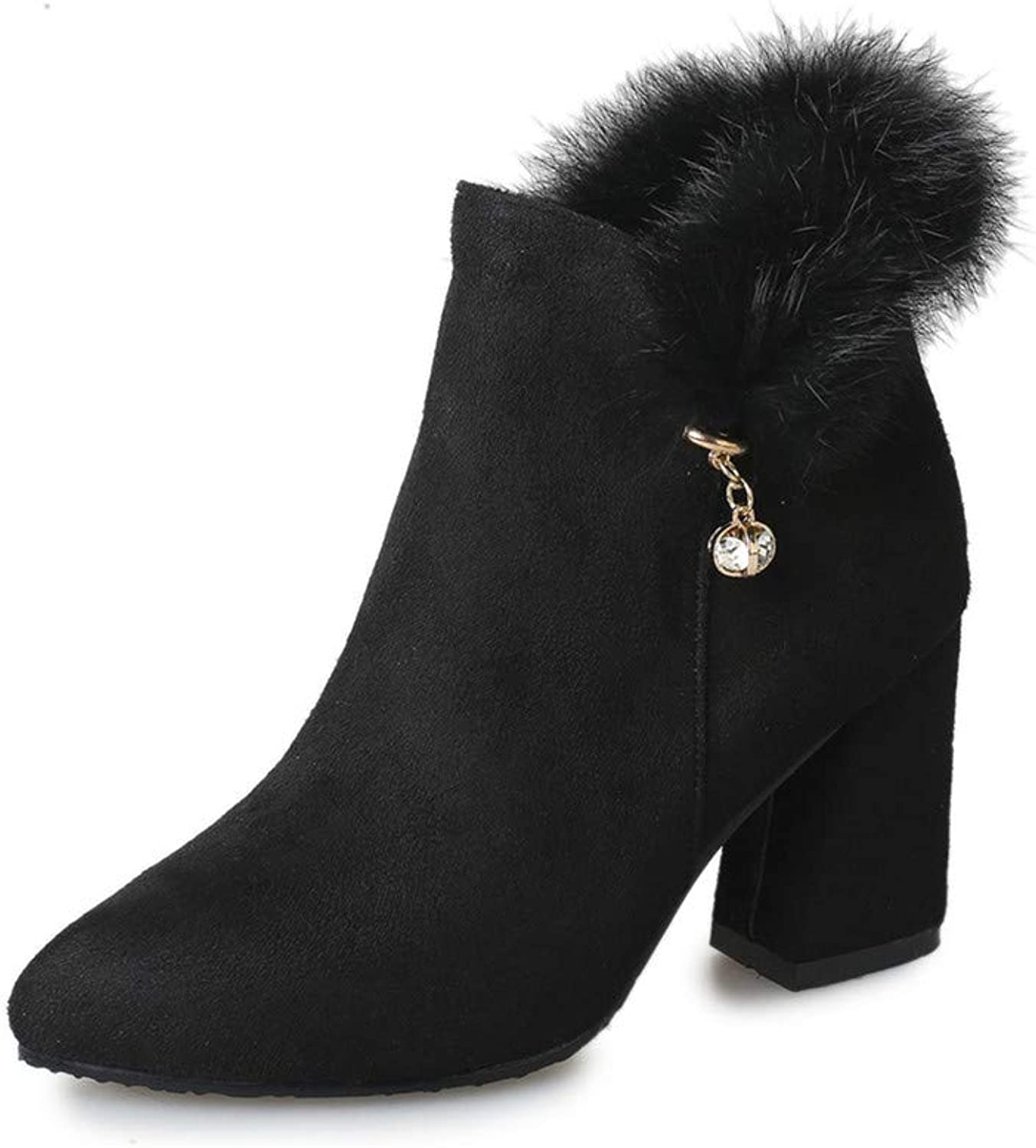 Super frist Women's Fur Thick Ankle Boots Chunky Heel Bootie Boots